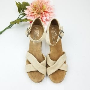 TOMS Tan Sienna Cork Wedge Sandal sz 6W
